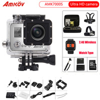 AMKOV Action Camera AMK7000S 4K 2.0 LCD 170 Degree Wide Angle Waterproof Wifi Remote Control Watch Sport Camera