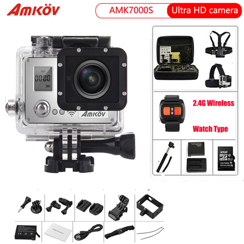 Action Camera  AMK7000S  4K 2.0 LCD 170 Degree Wide Angle Waterproof  WiFi Remote Control Watch Sport camera action camera 4k wifi ultra hd waterproof sport camera 2 inch lcd screen 12mp 170 degree wide angle