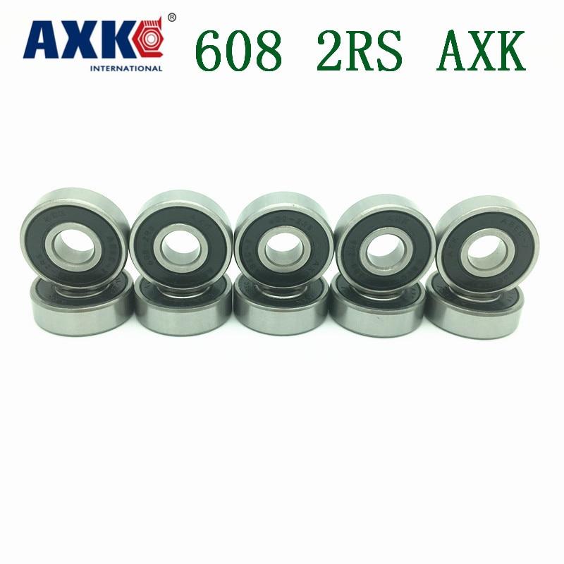 Free Shipping AXK 10PCS 608-2RS(10PCS) 8*22*7mm ABEC-7 Skateboard 608 2RS Ball Bearings Miniature 608-2RS 608 RS Bearing 608RS 1pcs 71901 71901cd p4 7901 12x24x6 mochu thin walled miniature angular contact bearings speed spindle bearings cnc abec 7