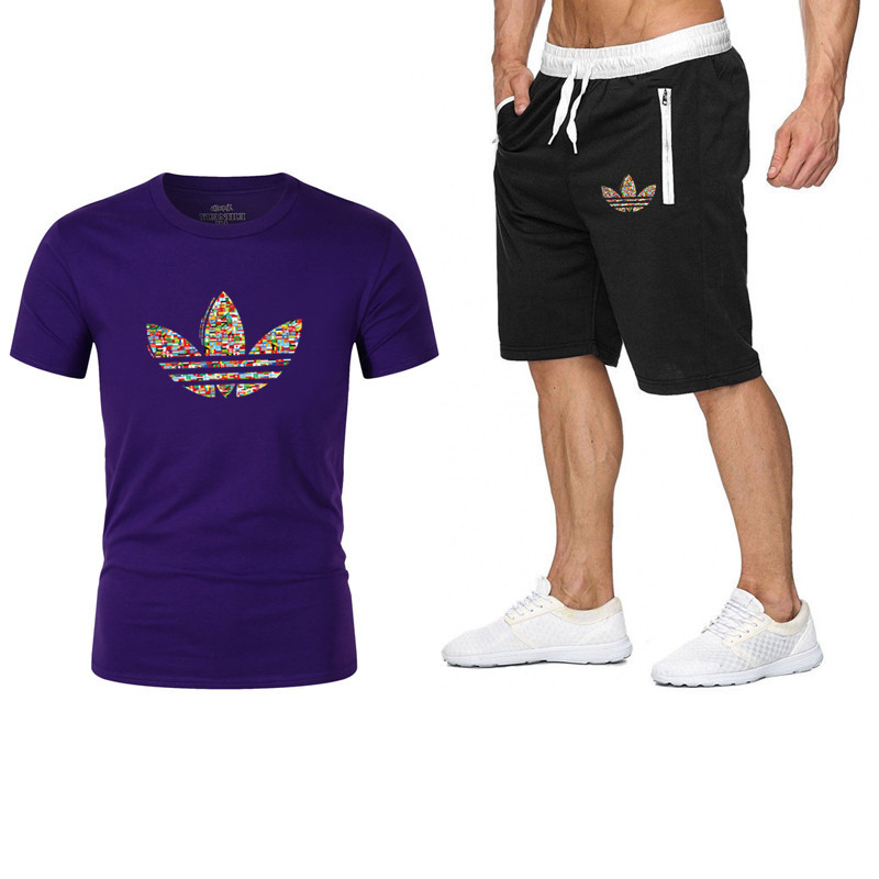 Summer Shorts Set Men Casual Outwear Slim Fit Mens Sweat Suits 2019 Casual T Shirts + Shorts Fashion 2pcs Men Sets