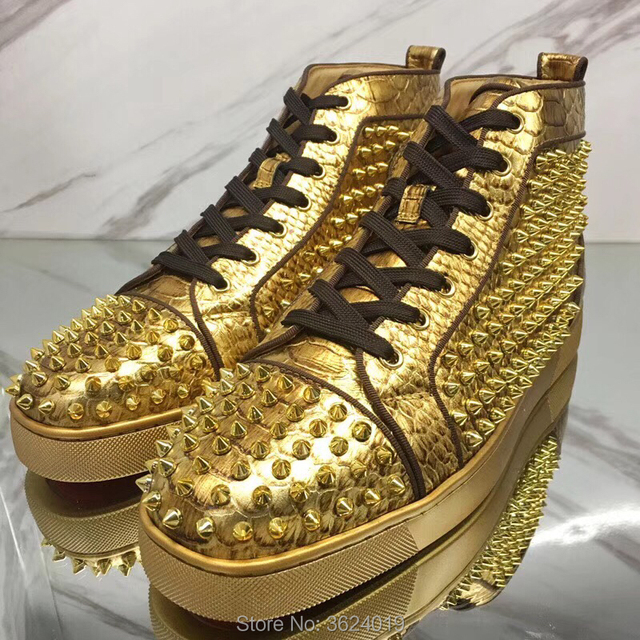 High cut cl andgz Golden Snake Lace Up Outdoor Sports Red Bottoms For Man  Shoes Sneakers Leather Loafers 2018 Footwear Spring b51e9a01c6e2