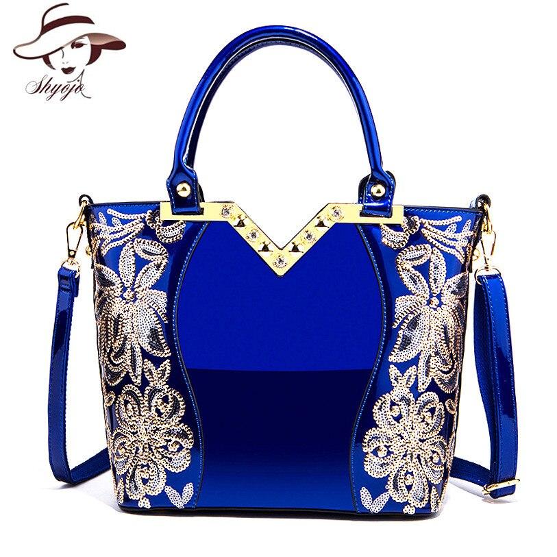 2018 sac à bandoulière en cuir verni femme soirée sacs marque Designer sacs à main grande capacité femmes paillettes bandoulière fourre-tout