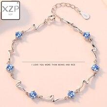 XZP Trendy Jewelry S925 Bracelet Bangle Women Charm Wave Cubic Zirconia from Austrian for Wedding Gift