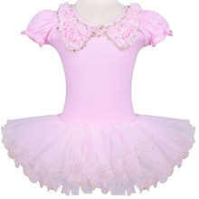 Pink/White Good Quality Girls Kids Party Fairy Ballet Dance Leotard Tutu Skirt Skate Dress with Flower Neck for 3-9Y