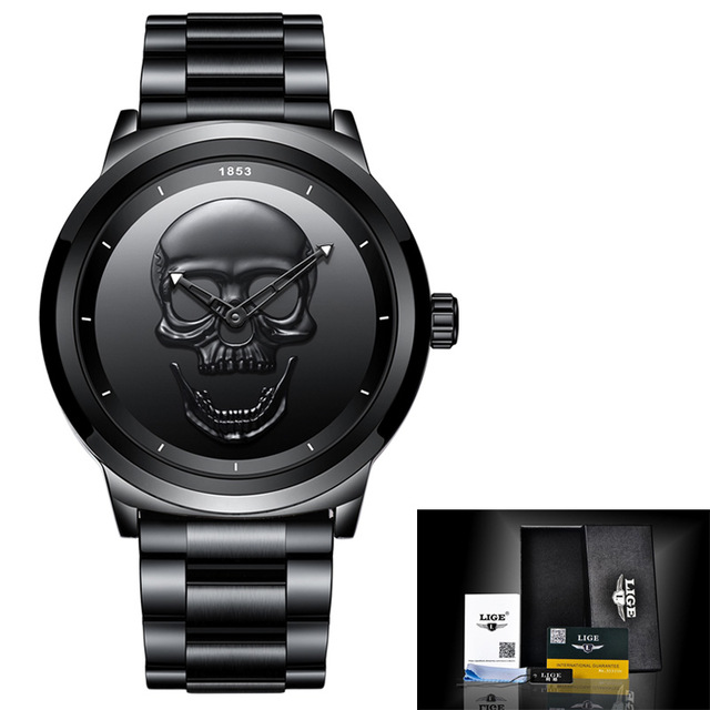 Image 5 - 2019 LIGE Brand Cool punk style Pirate Skeleton Skull Quartz Mens Watches Mesh Steel sports Black Watch Men Relogio Masculino-in Quartz Watches from Watches