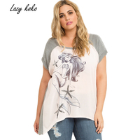 Lazy KoKo 2017 Plus Size Women Clothing New Fashion T Shirt With Sequines Casual Loose T
