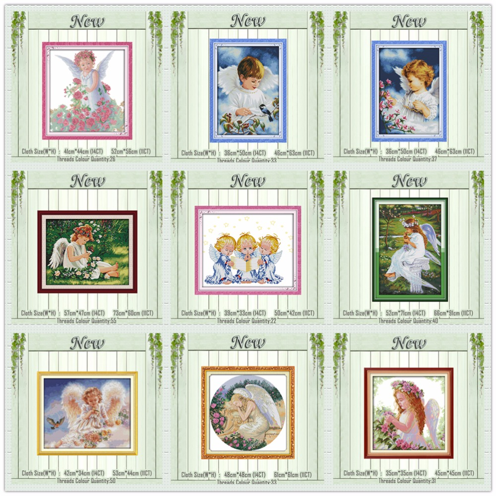 Girl Pray Little Angels Diy Painting Counted Printed On The Canvas DMC 11CT 14CT Kits NKF Cross Stitch Embroidery Needlework Set