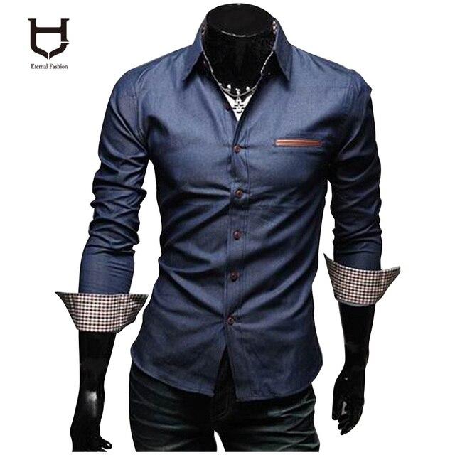 Camisa de la Blusa de Camisas Faldas Jeans Camisas Mantas aptos de Mezclilla de Manga Larga Camisa Camisa Masculina Camisas HYN13