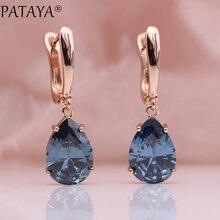 PATAYA – boucles d'oreilles longues bleues dégradées pour femmes, bijoux fins simples à la mode, goutte d'eau en or Rose 585, boucles d'oreilles en Zircon naturel