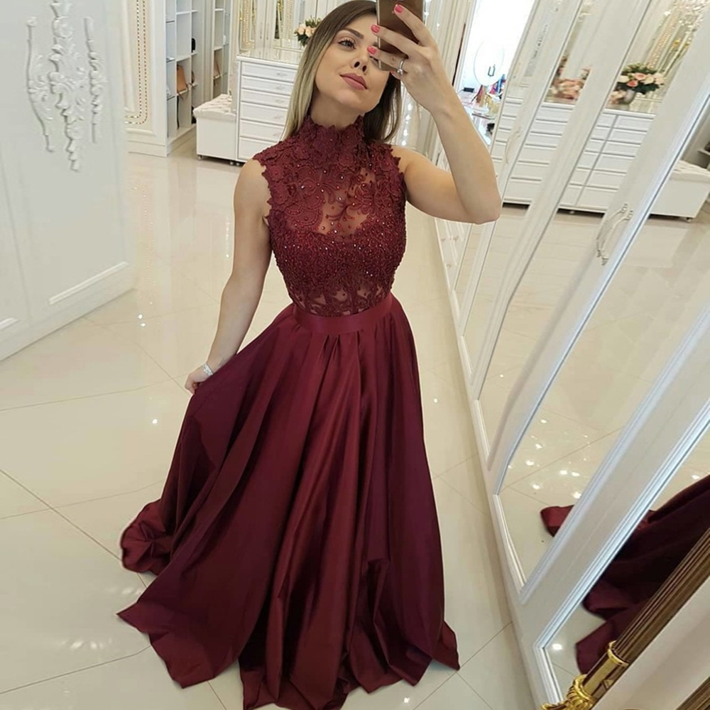 High Neck Long Burgundy   Prom     Dresses   A Line Sleeveless Sweep Train Evening Formal Party   Dress   with Back Button Vestido De Fiesta