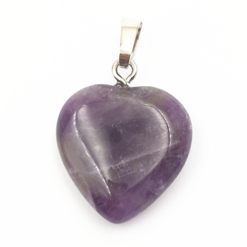 10PCS Wholesale Assorted 20MM Heart Pendant Natural Stone Crystal Jades Amethysts Charms Pendants for Jewelry Making Findings