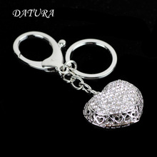 2 colors  Fashion rhinestone cut heart   pendant quality chic Car key chain ring holder Jewelry  for women.