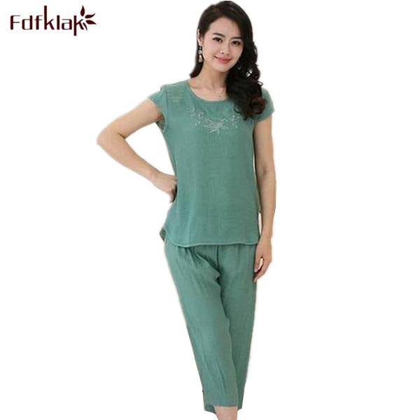 Women Pyjamas Home Clothes Plus Size Sleepwear Set Short Sleeve Pajamas For Women Pijama Sets Cotton Linen Pijamas XL-4XL A525