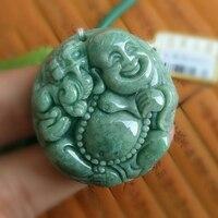 Buddhist Natural Jadeite AAA Maitreya Buddha Pendant Lucky Female Amulet Birthday Gift Health Jewelry Trendy Chinese Handcrafts
