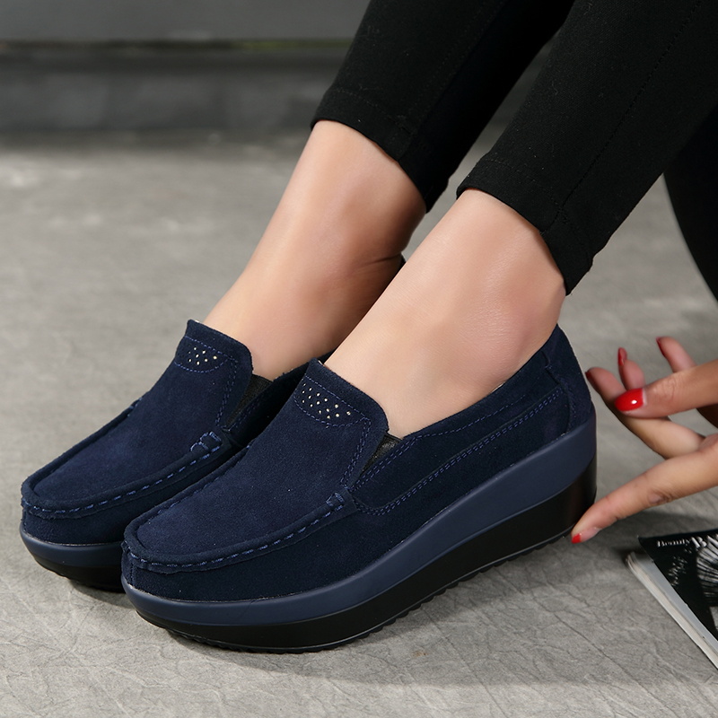 Women Flats Shoes Platform Heels Loafers Slip on Ladies Shoes Women   Leather     Suede   Sneaker Female Creepers Moccasins Spring 2019