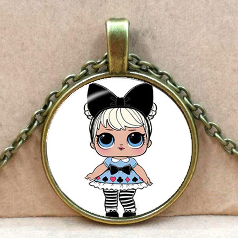 Мультяшное ожерелье с изображением куклы милое детское блестящее платье принцессы куклы стеклянные ожерелья аниме для детей подарок на день рождения - Окраска металла: bronze 3
