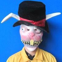 Hoogwaardige Party Cosplay Zombie Bunny Masker Volwassen Maskerade Konijn Masker Met Hoed Volledige Hoofd Dier Hoofd Masker Halloween Decoratie
