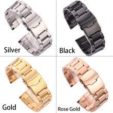 Black Stainless Steel Watchbands Bracelet 18mm 20mm 22mm 24mm Solid Metal Watch Band Men Strap Accessories