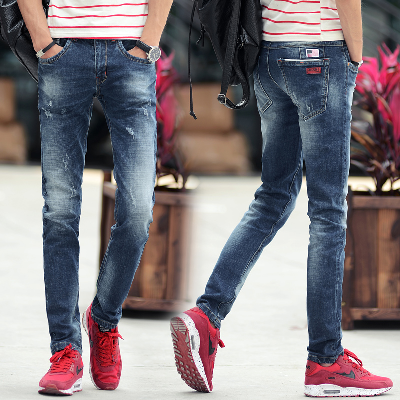 Hot Sale Fashion Casual Slim Straight Designer Denim Hole Ripped Jeans For Men Retail Wholesale Skinny Men Jeans Spring Autumn aliexpress 2016 summer new european and american youth popular hot sale men slim casual denim shorts cheap wholesale