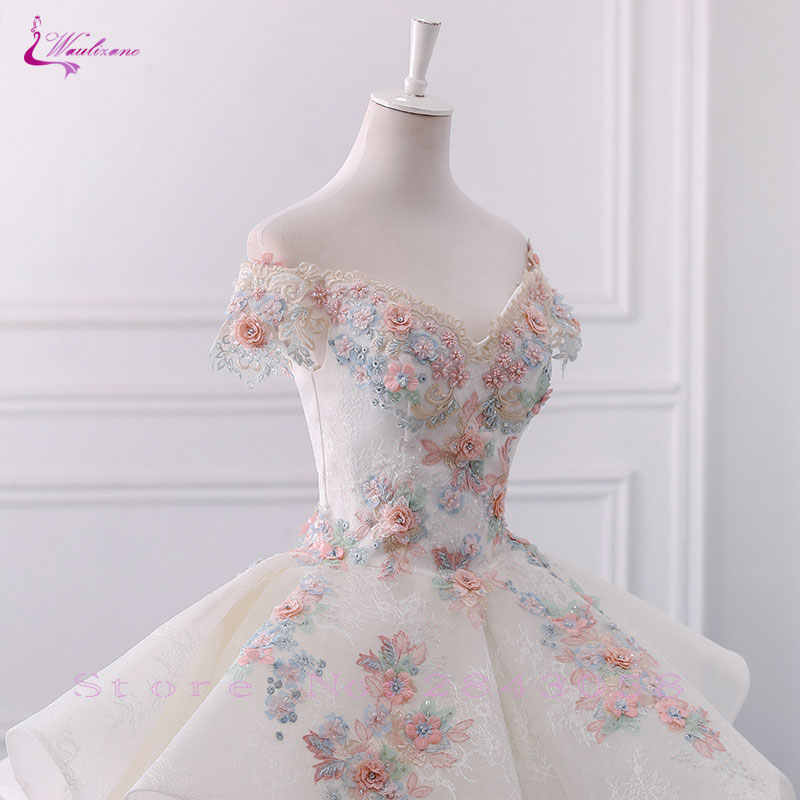 e6b3588e0df6a Waulizane Floral Print Lace Scallope Ball Gown Wedding Dresses Pink  Embroidery Appliques Off The Shoulder Bridal Dress