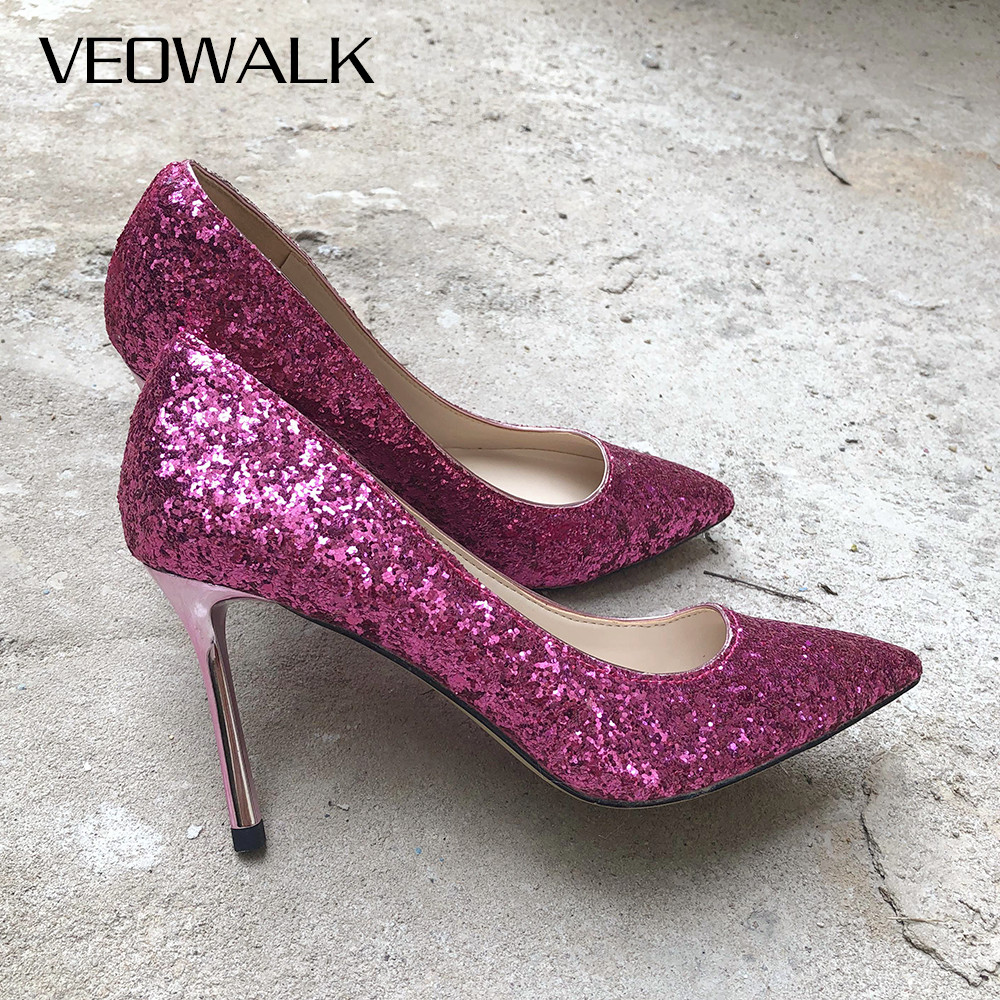 Veowalk Bling Sequins Fashion Ladies High Heels Pointed Toe 5/7/9cm Ladies Stiletto Heeled Party Shoes Sexy Wedding Bridal PumpsVeowalk Bling Sequins Fashion Ladies High Heels Pointed Toe 5/7/9cm Ladies Stiletto Heeled Party Shoes Sexy Wedding Bridal Pumps