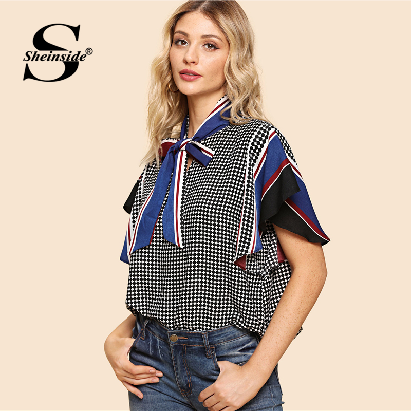 3bd4e3726df439 Sheinside Striped Tie Neck Office Ladies Workwear Elegant Blouse Shirt  Women Butterfly Sleeve Geometric Casual Summer Blouse-in Blouses   Shirts  from ...