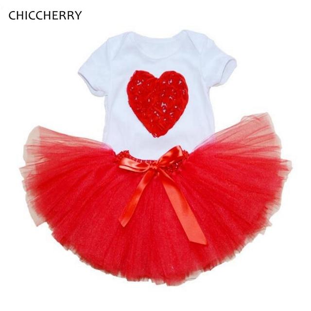 red heart valentine baby clothes infant lace bodysuit newborn tutu skirt headband set wedding skirts roupa