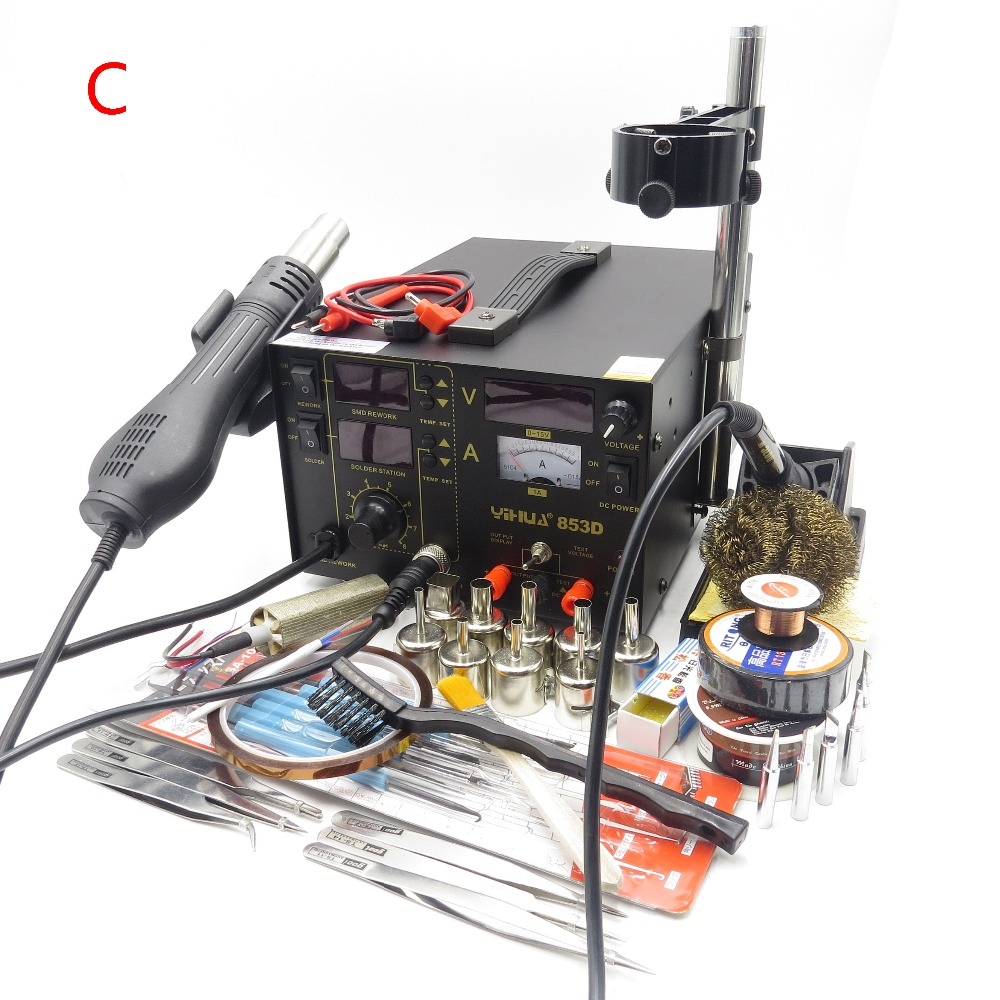 YIHUA 853D 110V / 220V SMD DC Power Supply Hot Air Gun Soldering Iron Rework Solder Station with the Gift For SMT Welding Repair 853d 110v 220v usb hot air gun rework station soldering iron heat gun power supply welding repair solder station led light