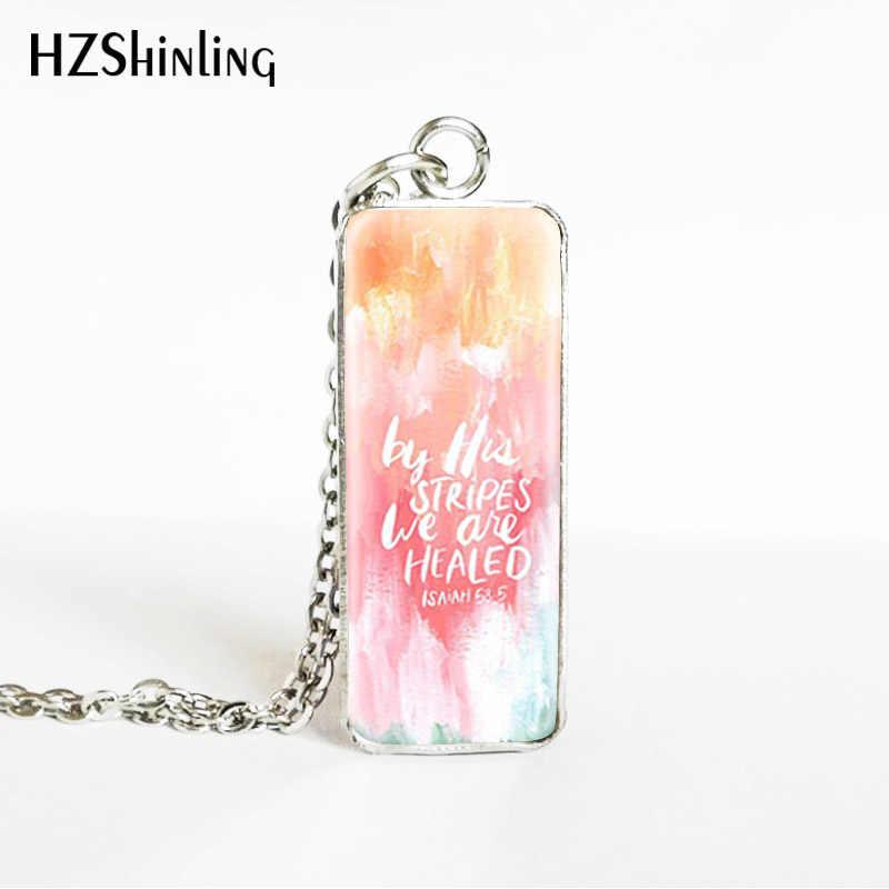 Bíblia versos motivacional lema retângulo pingentes de aço inoxidável movimento palavras fotos jóias colares presentes