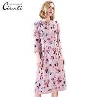 CISULI шелковое платье Для женщин летнее платье натуральный шелковый креп Винтаж платье