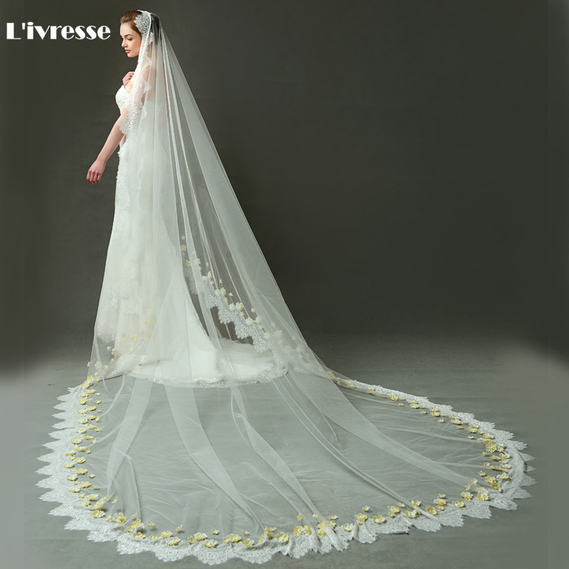 Ivory Cathedral Wedding Veils Long Lace Edge Bridal Veil With Flower Wedding Accessories Veu De Noiva Longo Com Renda