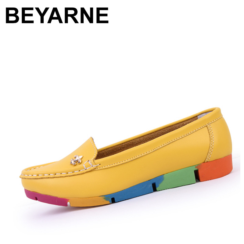 BEYARNE Women ballerina flats casual shoes genuine Leather slip on ballet Ladies soft moccasins white green blue peach beyarne spring summer women moccasins slip on women flats vintage shoes large size womens shoes flat pointed toe ladies shoes