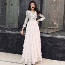 Weiyin 2020 新 V ネックイブニングドレス宴会エレガントな白 3/4 スリーブスパンコールロングパーティーフォーマルドレス WY1554 ローブ · ド · 夜会