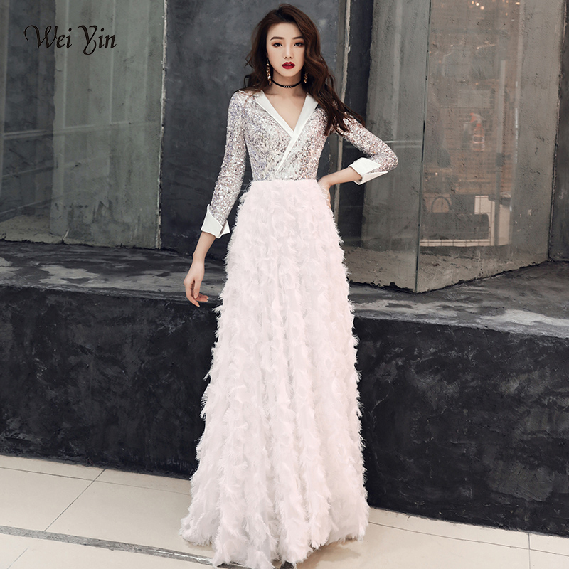weiyin 2019 New V Neck   Evening     Dress   The Banquet Elegant White 3/4 Sleeves Sequins Long Party Formal Gown WY1554 Robe De Soiree