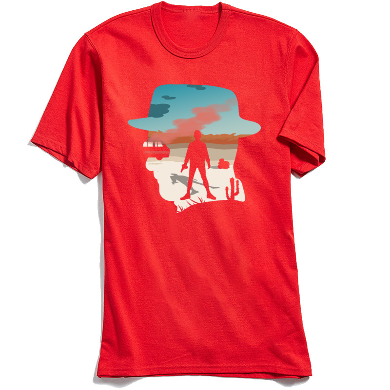 Gift Short Sleeve Tops Shirts Fall Round Neck 100% Cotton Young T Shirt Heisenberg Silhouette Gift Tops T Shirt On Sale Heisenberg Silhouette red