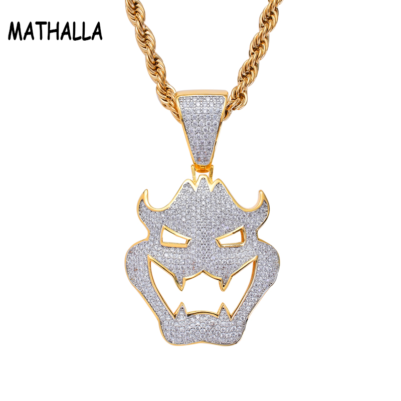 Masque d'halloween Grimace AAA + Zircon cubique Hiphop pendentifs et colliers Cosplay bijoux Cool
