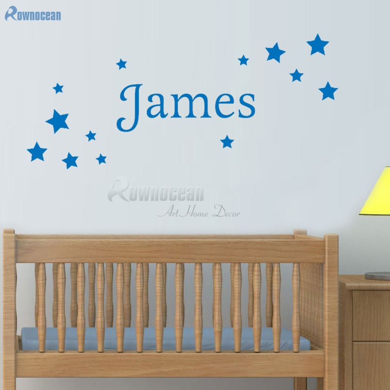 Personalized Name Star Wall Stickers for Baby Bedroom Wall Art Decor Boys Girls Room Vinyl Home Decoration Customized Name N-16