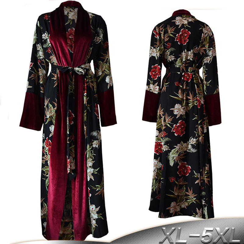 Plus Size Spring Velvet Abaya Kimono Kaftan Dubai Arabic Islam Women Floral Cardigan Muslim Hijab Dress Turkish Islamic Clothing