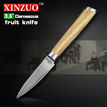 XINZUO 3.5″ inch paring knife Damascus kitchen knife damascus steel fruit knife senior kitchen tool  logs handle FREE SHIPPING