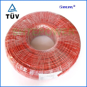 Solar Connector Cable 50m/lot (Black cable or Red Cable) 6mm2 Black or Red TUV Approval Power Cable