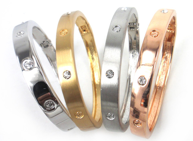 Free shipping high quality wire drawing gold silver rhodium and rose gold plating font b crystal