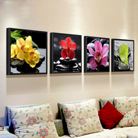 Canvas Wall Art Set Of 4 Orchid Flower Canvas Prints For Home Decoration Peaceful Zen