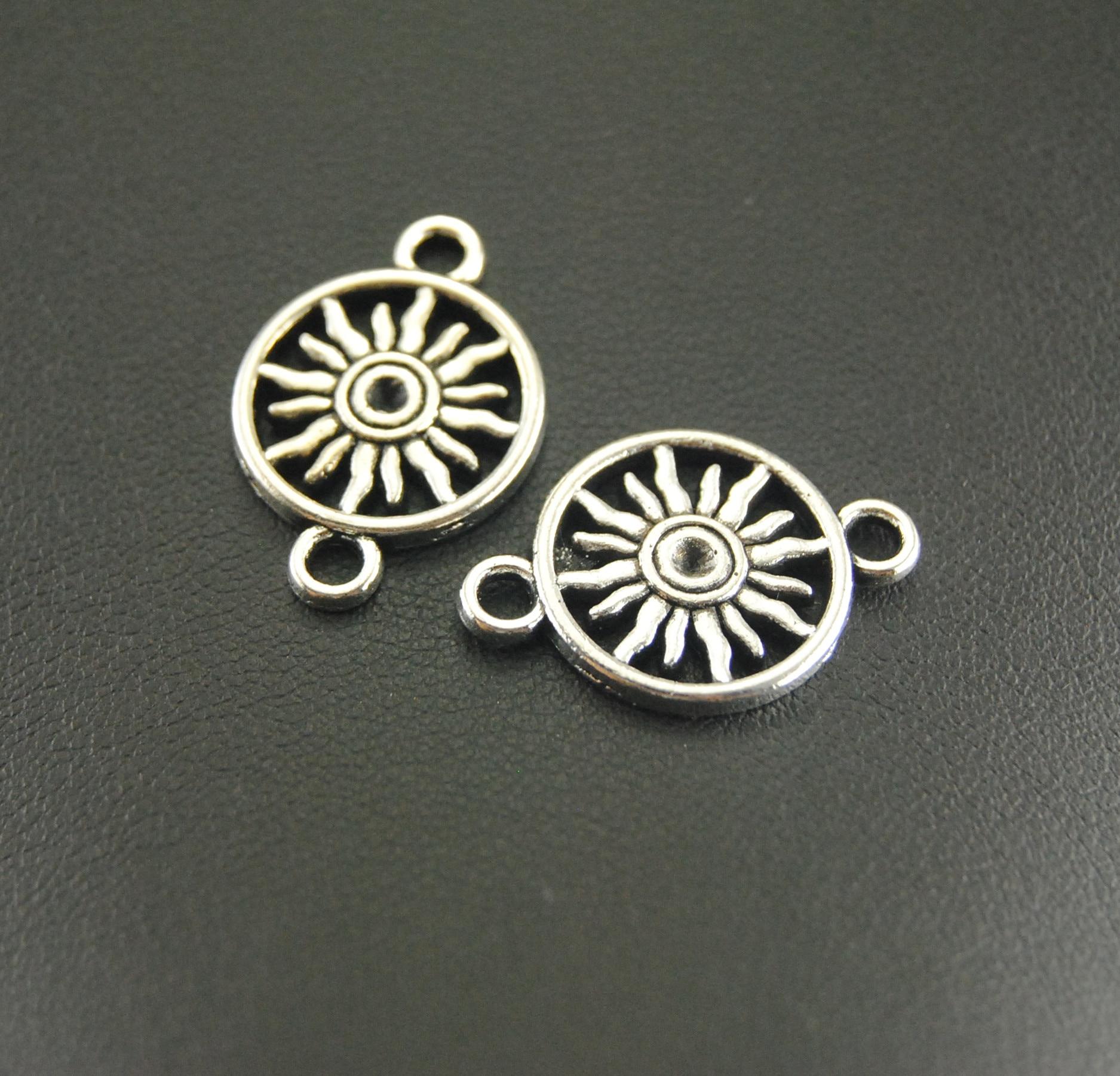 10Pcs Antique Silver Sun Charm Jewelry Making DIY Handmade Craft A856