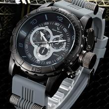 2016 Горячий продавать V6 luxury leisure модные часы мужчины военные силикагель с кварцевые часы relogio masculino
