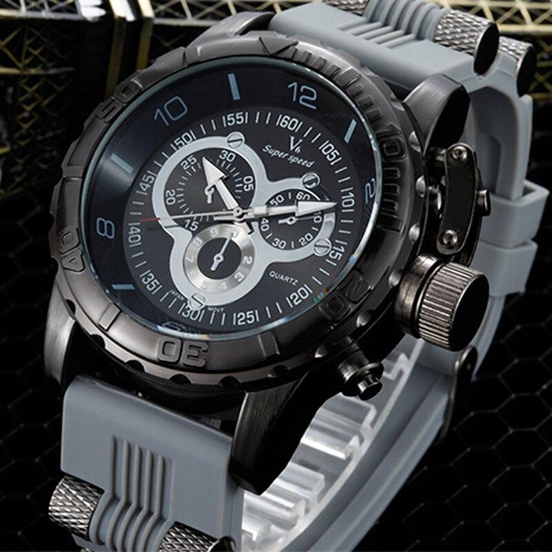 Prix pour 2016 vente Chaude V6 de luxe loisirs mode montres hommes militaire de silice gel avec quartz montre relogio masculino