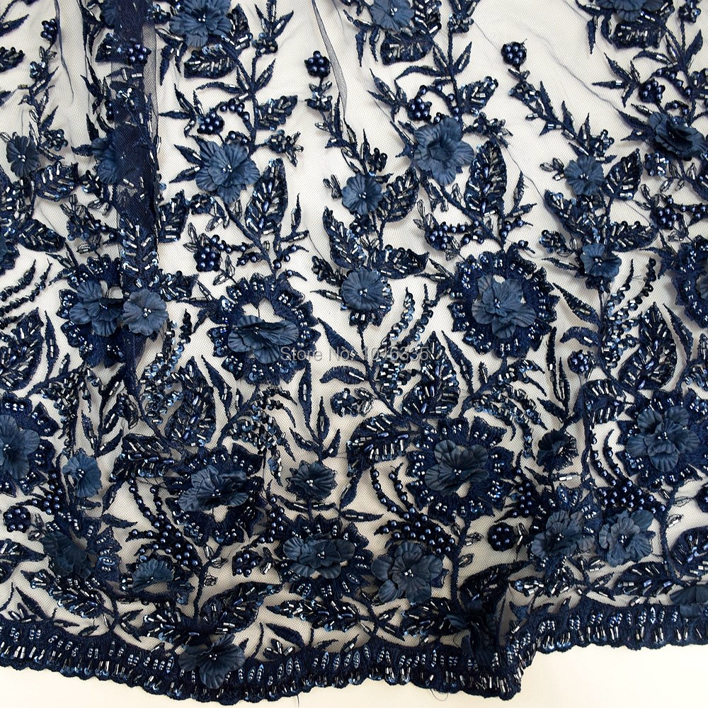 Luxury nave blue handmade 3d embroidery lace applique with heavy beaded for wedding gown HY0624