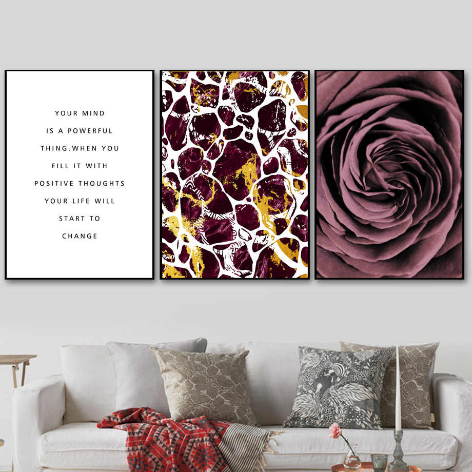 Rose Abstract Texture Quotes Nordic Posters And Prints Wall Art Canvas Painting Flower Wall Pictures For Living Room Home Decor