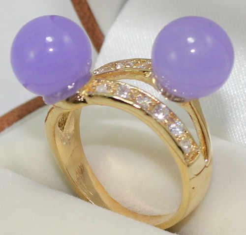 ร้อนขาย>@@ 2สีขายส่งน่ารัก18kgp 2สีฟ้า/สีม่วงอ่อนหยกลูกปัด6-8มิลลิเมตรเลดี้ของแหวนแฟชั่น(#7.8.9) #