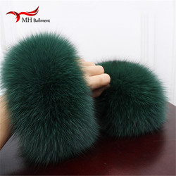 High Quality Fox fur Cuffs Hot Sale Wrist Warmer Genuine Fox Fur Cuff Arm Warmer Lady Bracelet Real Fur Wristband Glove X#1