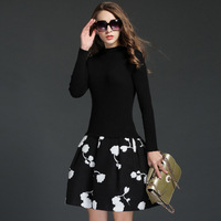 Autumn Winter Dresses Women New Black Friday Knitted Long Sleeve Thick Woolen Embroidery A Line Dress